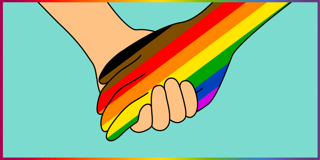 """two holding hands, one is """"white"""" aka peach colored and the other is the LGBTQ rainbow plus black and brown flag colors"""